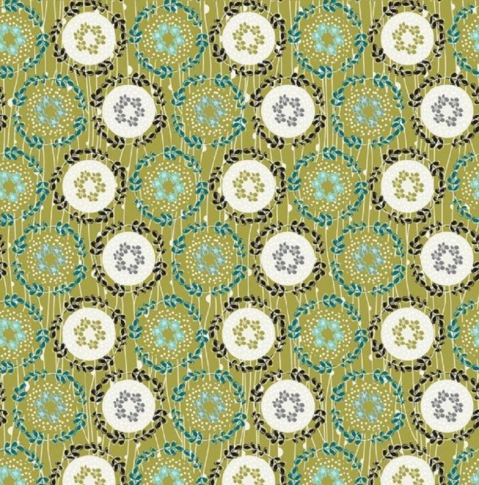 Fabric Freedom - Daisy Chain, FF287-2 - Green Cotton Patchwork Fabric
